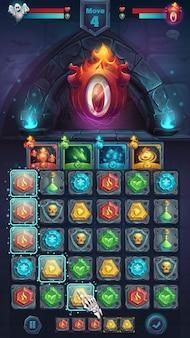 Monster battle gui aldiablo spielfeld match - cartoon stilisierte illustration mobile format fenster mit optionsschaltflächen, spielgegenständen, karten.