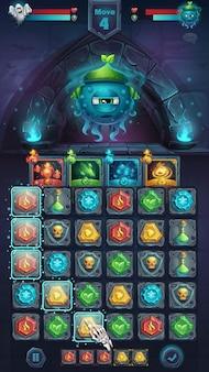 Monster battle gui schnecke natur spielfeld match - cartoon stilisierte illustration mobile format fenster mit optionen schaltflächen, spielgegenstände, karten.