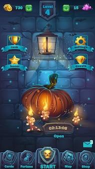 Monster battle gui spielfeld - cartoon illustration spiel benutzeroberfläche - hintergrund schreckliche halloween-wand mit kürbis spielfeld