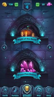 Monster battle gui spielfeld - cartoon illustration spiel benutzeroberfläche - hintergrund schreckliche halloween-wand mit kürbis und den kristallen spielfeld