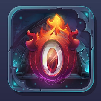 Monster battle gui-symbol - cartoon stilisierte illustration eldiablo flamme.