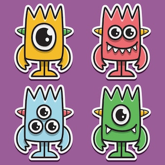 Monster cartoon gekritzel aufkleber design illustration