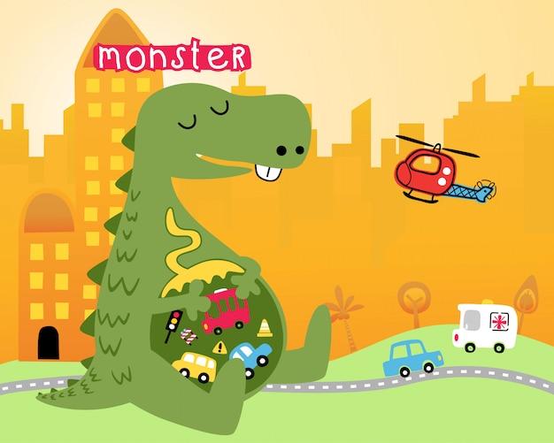 Monster-cartoon in der stadt
