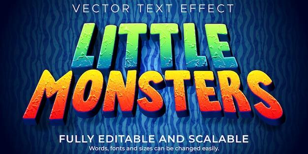 Monster-cartoon-texteffekt; bearbeitbarer comic und lustiger textstil