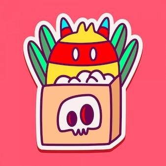 Monster charakter gekritzel aufkleber illustration