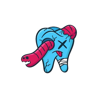 Monster dental zähne doodle abbildung
