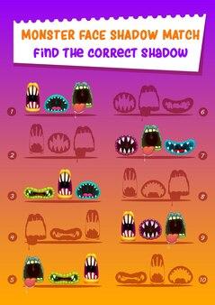 Monster face shadow match kinderspiel mit gruseligen mündern. finden sie das richtige schattenkarikatur-arbeitsblatt, das rätsel für die entwicklung des logischen geistes von kindern. vorschulerziehung mit halloween gruseligen brüllen zähnen