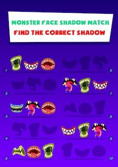 Monster face shadow match kinderspiel mit gruseligen mündern. finden sie die richtige logische aktivität der schattenkinder. vorschulkindergartenerziehung mit gruseligen halloween brüllen zähnen. arbeitsblatt zum cartoon-rätsel