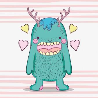 Monster fantastische kreatur mit geweih und herzen
