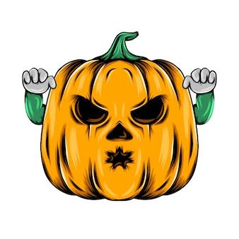 Monster gelber kürbis mit den beiden händen und kleinem mund