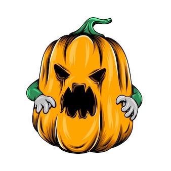 Monster gelber kürbis mit den grünen händen und dem großen lochmund auf seinem gesicht