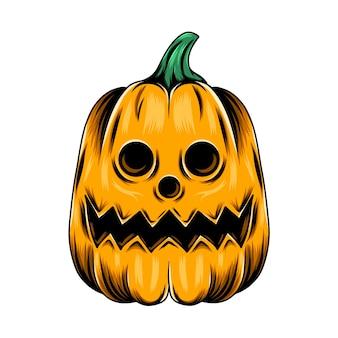 Monster gelber kürbis mit den runden lochaugen und für die halloween-inspirationen