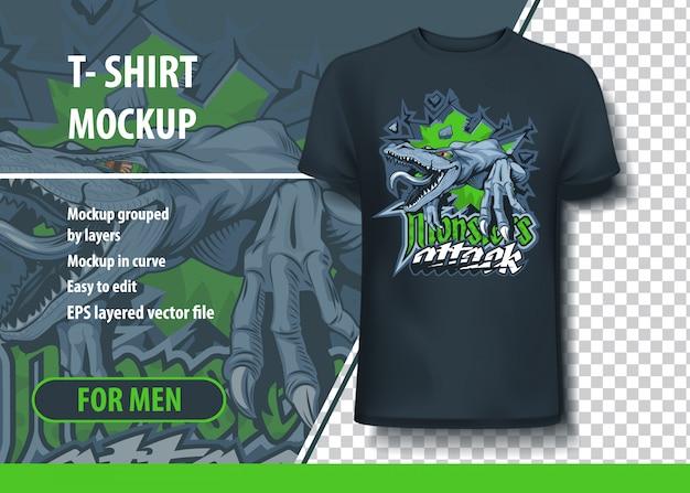 Monster greifen t-shirt mit aggressiver eidechse an.