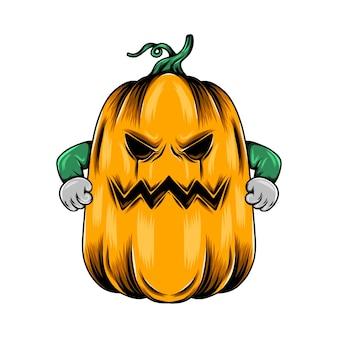 Monster großer gelber kürbis mit dem wütenden gesicht und zwei geballten händen
