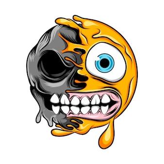 Monster half skull emoticon mit großem lächeln