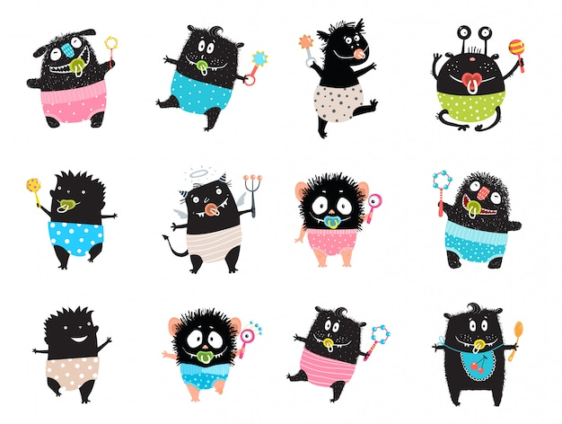 Monster kid character bundle doodle schwarze monster