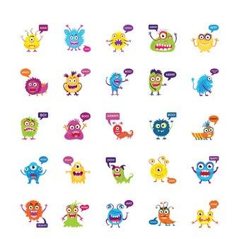 Monster knurren und schreien flache icons set