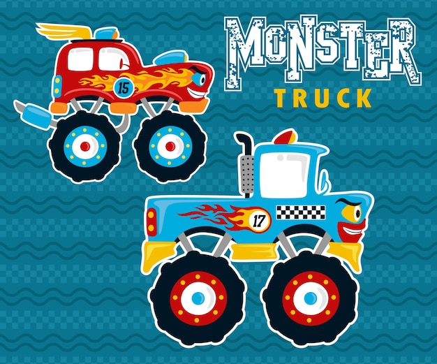 Monster-lkw-karikatur im wettbewerb