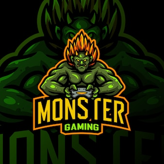 Monster maskottchen logo gaming esport illustration