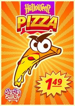 Monster-menü mit mexikanischer pizza vertikales banner mit preisschild für halloween-vektor-clipart