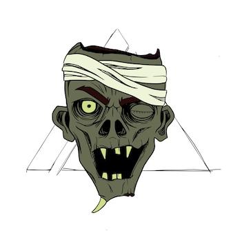 Monster mit bandage im dreieck hintergrund