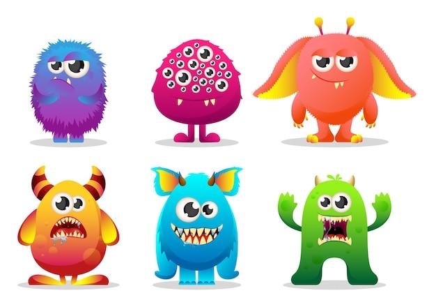 Monster mit großen augen und hörnern, die gefühle ausdrücken. sammlung von niedlichen realistischen charakter monster