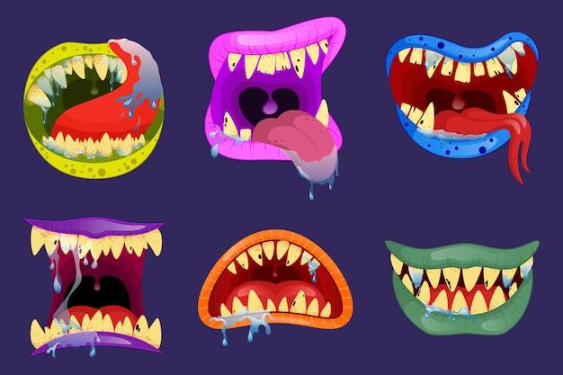 Monster münder. halloween beängstigende monsterzähne und zunge im mund nahaufnahme. lustiger gesichtsausdruck, offener mund mit zunge und sabber.