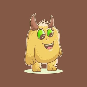 Monster niedlicher cartoon-logo-vektor