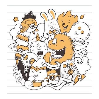 Monster party doodle kunst