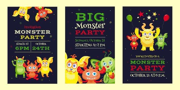 Monster party einladungsentwürfe mit lustigen bestien und maskottchen. helle bunte einladungen für kinder. feier und halloween party konzept. vorlage für flugblatt, banner oder flyer