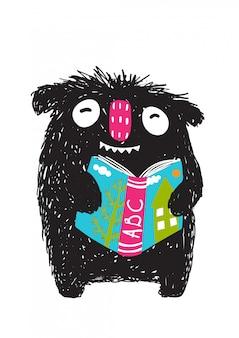 Monster reading abc buch cartoon für kinder