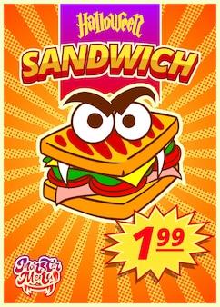 Monster-sandwich-menü. ein vertikales banner mit einem preisschild für ein fast-food-café am halloween-tag. vektor-illustration.