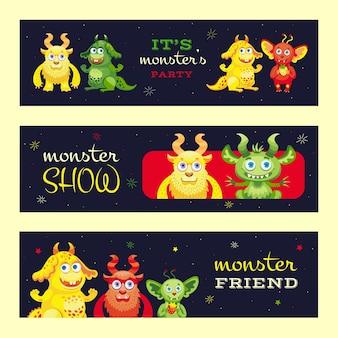 Monster show banner design für event. moderner werbeflyer mit lustigen bestiencharakteren. feier und monster party konzept. vorlage für poster, promotion oder webdesign