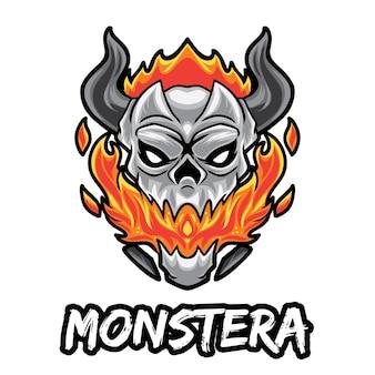 Monster skull esport logo isoliert auf weiß
