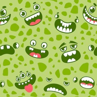 Monster steht vor nahtlosem muster. cartoon-halloween-monster, geister und aliens augen, münder und zähne. beängstigender kreaturen-vektordruck für kinder. illustration monster halloween-muster, gruseliges gesicht