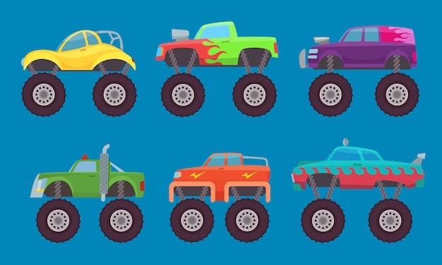 Monster truck autos, automobile mit großen rädern kreatur auto spielzeug für kinder isoliert