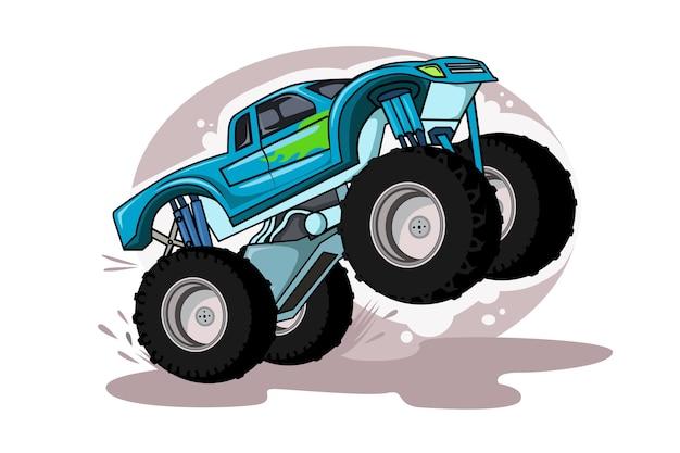 Monster truck cartoon fahrzeug oder auto und extreme show transport illustration