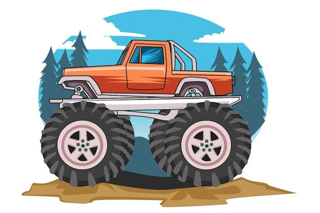 Monster truck im hintergrund der ansicht