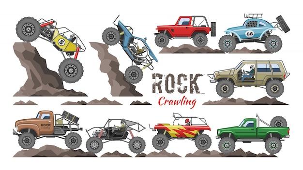 Monster-truck-karikaturfelsenfahrzeug, das in felsen und in felsige autoillustration des extremen transportes kriecht
