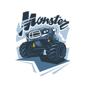 Monster truck logo im handzeichnungsstil.