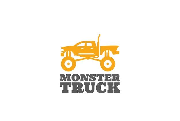 Monster truck logo isoliert auf weiß