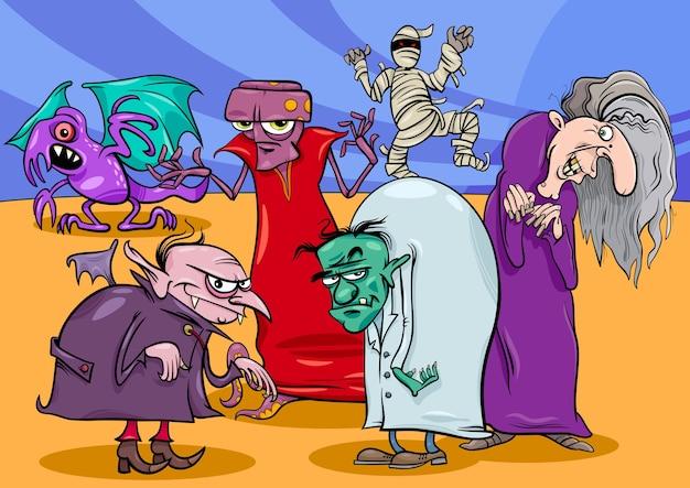 Monster und schrecken gruppe cartoon illustration