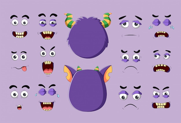 Monster und verschiedene gesichter mit emotionen