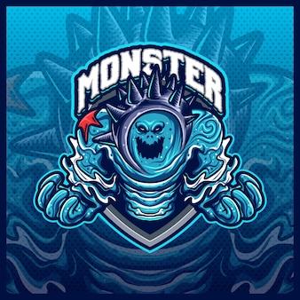Monster water element maskottchen esport logo design illustrationen vektorvorlage, seeungeheuer logo für team game streamer merch, vollfarb-cartoon-stil