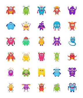 Monster-zeichen-flache ikonen