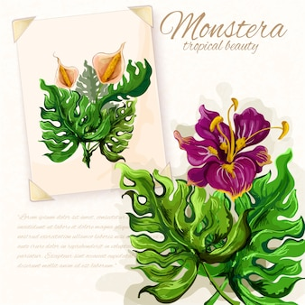 Monstera blätter mit hibiskusblüten