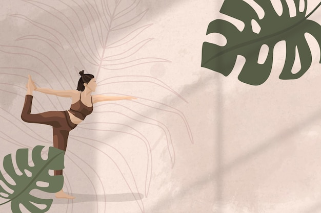 Monstera-blatt-grenzhintergrund mit yoga-, gesundheits- und wellnessillustration