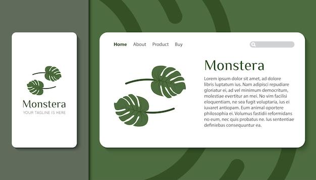 Monstera hinterlässt ein logo für die mobile app und die zielseitenvorlage