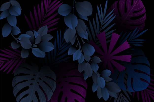 Monstera und blätter realistisch dunklen tropischen hintergrund