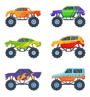 Monsterautos eingestellt. bunte karikatur-lastwagen auf großen rädern, spielzeug für kinder lokalisiert auf weiß